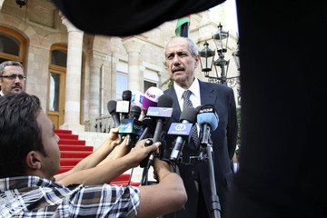 Jordan's Prime Minister Fayez al-Tarawneh speaks to the media after the swearing-in ceremony at Raghadan Palace in Amman
