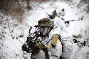A U.S. Marine participates in a winter military drill in Pyeongchang