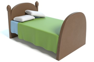 3d illustration of a cartoon bed