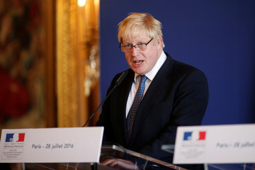 British Foreign Secretary Boris Johnson attends a news conference at the Foreign Affairs Ministry in Paris