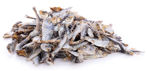 Dried fishes isolated on white background