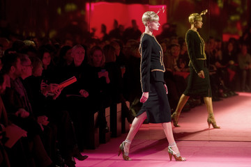 A model presents creations for fashion house Schiaparelli as part of the Haute Couture Spring Summer 2015 fashion show in Paris