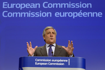 European Commission Vice-President Tajani gestures during a news conference on the European defence industry in Brussels
