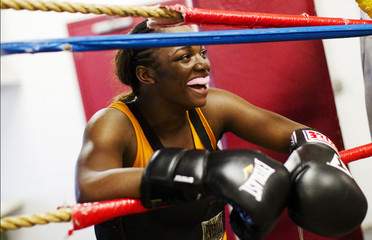 17 year old female boxer and Olympics hopeful Claressa Shields trains in the F.W.C. Berston boxing gym in Flint