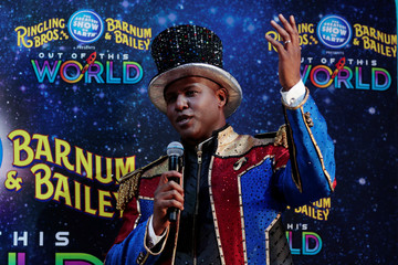 Ringmaster Johnathan Lee Iverson speaks to journalists during a news conference about the final weekend of the Ringling Bros. and Barnum & Bailey circus at Nassau Coliseum in Uniondale, New York