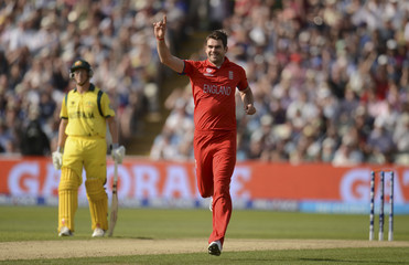 England's Anderson celebrates after dismissing Australia's Wade during the ICC Champions Trophy group A match at Edgbaston cricket ground, Birmingham