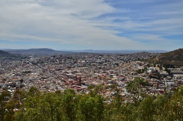 view from above Zacatecas, Mexico
