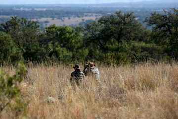 Professional hunters look through their binoculars during a hunt for game at the Iwamanzi Game Reserve in Koster, in the North West Province