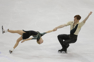 Tarasova and Morozov of Russia perform during the pairs short program at the ISU European Figure Skating Championship in Bratislava