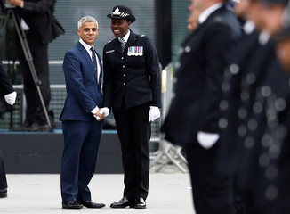 "London Mayor, Sadiq Khan is greeted by a senior police officer at a passing-out parade at the new ""Peel Centre"" at the Metropolitan Police Academy in London"