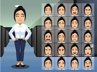 Business Asian Woman Cartoon Emotion faces Vector Illustration