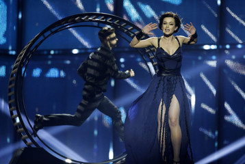 "Singer Mariya Yaremchuk representing Ukraine performs the song ""Tick-Tock""during dress rehearsal for final of upcoming 59th annual Eurovision Song Contest in Copenhagen"