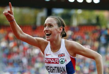 Weightman of Britain celebrates her third place in the women's 1500 metres final during the European Athletics Championships at the Letzigrund Stadium in Zurich