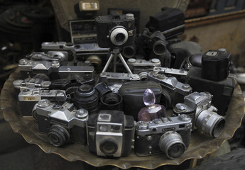 Old cameras are seen in a collectibles and antiques shop in El Moaez Ledeen Alah El Fatmy Street, at al-Hussein and Al-Azhar districts in old Cairo