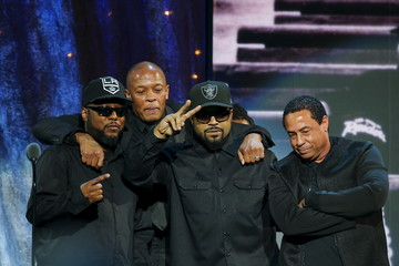 MC Ren, Dr. Dre, Ice Cube and DJ Yella of N.W.A. pose for a picture onstage in Brooklyn, New York
