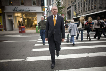 Former IRA commander and current deputy first minister of Northern Ireland Martin McGuinness crosses a street in New York