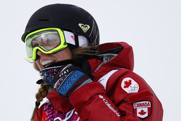 Canada's Dara Howell reacts in the finish area during the women's freestyle skiing slopestyle finals at the 2014 Sochi Winter Olympic Games in Rosa Khutor