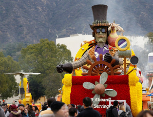 """The Trader Joe's """"All Aboard! 50 Years of Serving the Best"""" float which was featured in the 128th annual Rose Parade is pictured in Pasadena"""