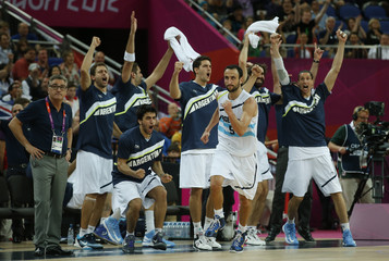 Argentina's Ginobili reacts after making a three-point basket against Russia during their men's bronze medal basketball match at the North Greenwich Arena in London during the London 2012 Olympic Games