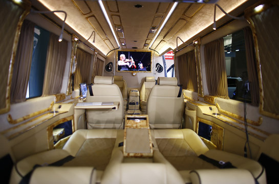 The inside of a VIP luxury business van modified by Klassen VIP Car Design Technology company is pictured during a media preview day at the Frankfurt Motor Show