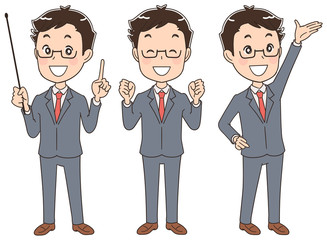 様々なポーズのスーツ姿の男性(セット)