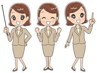 様々なポーズのスーツ姿の女性(セット)
