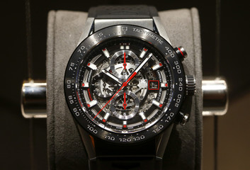 A Carrera Heuer 01 Automatic Chronograph watch of Swiss watch manufacturer TAG Heuer is displayed at Baselworld fair in Basel