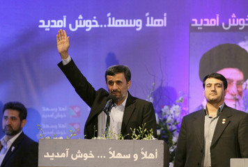 Iranian President Mahmoud Ahmadinejad addresses Lebanon's Hezbollah supporters during a rally to celebrate his visit to Lebanon
