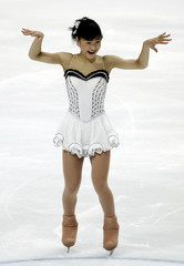 Murakami of Japan performs during the ladies short program event at the ISU World Figure Skating Championships in Moscow