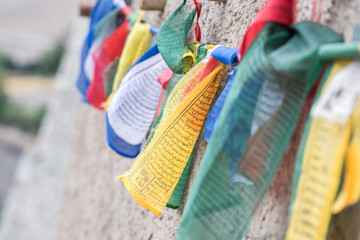 Colorful Buddhist prayer flags above Leh town in the Himalayan mountain, Leh, Ladakh, India