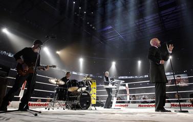Unheilig performs prior to the WBC Heavyweight Championship boxing fight between Vitali Klitschko of Ukraine and Briggs of the U.S. in Hamburg