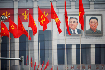 Pictures of former North Korean leaders Kim Il Sung and Kim Jong Il decorate the April 25 House of Culture, venue of the Workers' Party of Korea (WPK) congress in Pyongyang