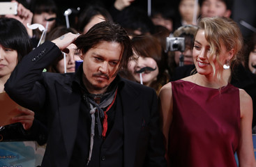 """Actors Johnny Depp and Amber Heard attend the Japanese premiere of """"Mortdecai"""" in Tokyo"""
