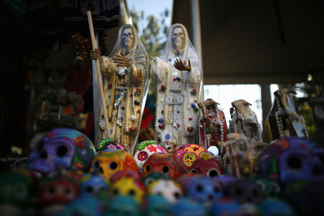 Miniature wooden skulls are seen during the 14th annual Dia de los Muertos festival at Hollywood Forever Cemetery in Los Angeles