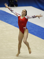 Jordyn Wieber of the U.S. competes on the floor during the women's team final at the Artistic Gymnastics World Championships in Tokyo