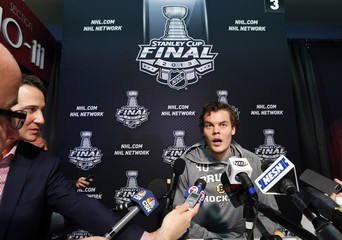 Boston Bruins goalie Tuukka Rask answers a question during a news conference for the NHL Stanley Cup finals to be played against the Chicago Blackhawks in Chicago