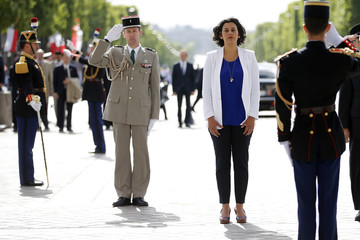 French City Policy junior minister Myriam El Khomri attends a ceremony at the Arc de Triomphe in Paris
