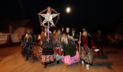 "People celebrate the pagan rite called ""Kolyadki"" in the village of Lobcha"