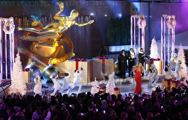 Singer Mariah Carey performs at the lighting ceremony for the 82nd Rockefeller Center Christmas tree at Rockefeller Center in midtown Manhattan in New York City