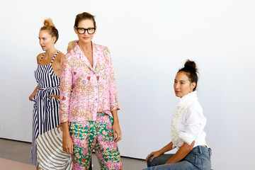 J. Crew creative director Jenna Lyons stops for a photograph during a presentation of the J. Crew Spring/Summer 2017 collection during New York Fashion Week in the Manhattan borough of New York
