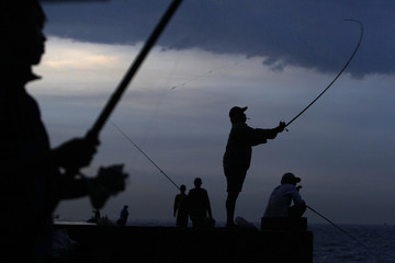 Youths fish as they stand on the seawall at Muara Karang district in Jakarta
