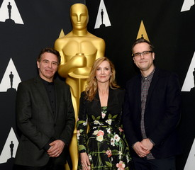 Robert Pandini, Sian Grigg and Duncan Jarman attend a reception at the Academy of Motion Picture Arts and Sciences in Beverly Hills