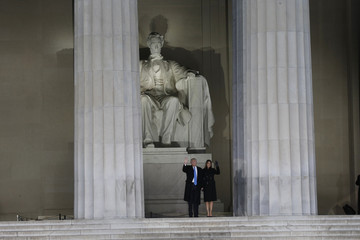 U.S. President-elect Trump and wife Melania arrive at pre-inaugural rally from the steps of the Lincoln Memorial in Washington