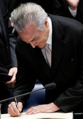 Brazil's new President Michel Temer attends the presidential inauguration ceremony after Brazil's Senate removed President Dilma Rousseff in Brasilia