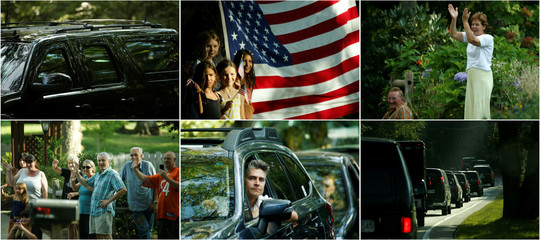 A combination photo shows people react to Obama's motorcade as he rides home from a golf outing at Mink Meadows Golf Club during his annual family summer vacation on Martha's Vineyard, in Vineyard Haven, Massachusetts