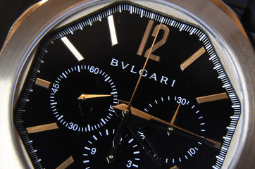 Detail is seen on a men's watch made by Bulgari inside a flagship store in central London