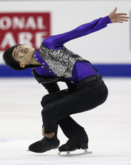 Song of China performs during the men's free skating event at the ISU World Figure Skating Championships in Nice