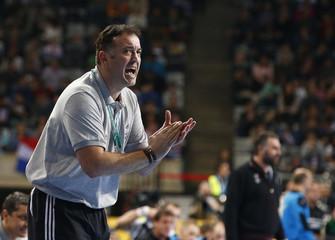 Croatia's coach Goluza reacts during their Men's Handball World Championship third-place match against Slovenia in Barcelona