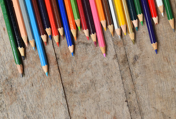 Crayon on the wooden
