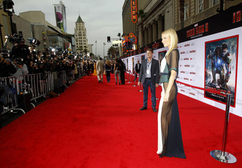 """Cast member Gwyneth Paltrow poses at the premiere of """"Iron Man 3"""" in Hollywood"""